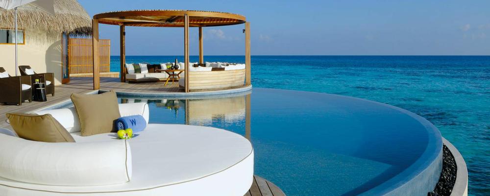 w岛,w宁静岛度假村 地理位置:距离马累72公里的北阿里环礁地带 酒店